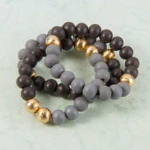 B1227-GY Set of 3 Wood Stretch Bracelet