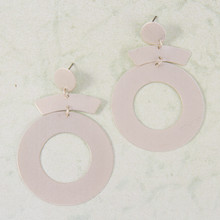 E2144-SL Metal Dangle Hoop Post Earring