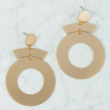 E2144-GD Metal Dangle Hoop Post Earring