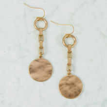 E2158-GD Chain and Disk Dangle Fishhook Earring