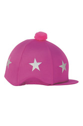 HyFASHION Ladies Star Print Bobble Hat Cover - Cerise/Silver