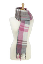 HyFASHION Ladies Supersoft Tartan Scarf - Berry/Gray
