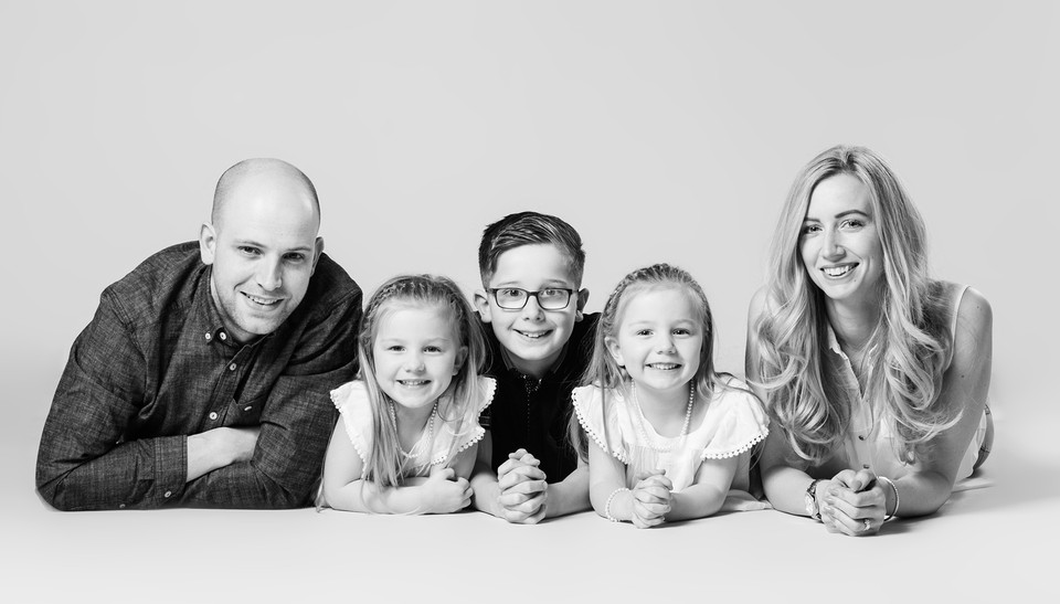 Black and White family portrait by Emotion Studios of Shropshire