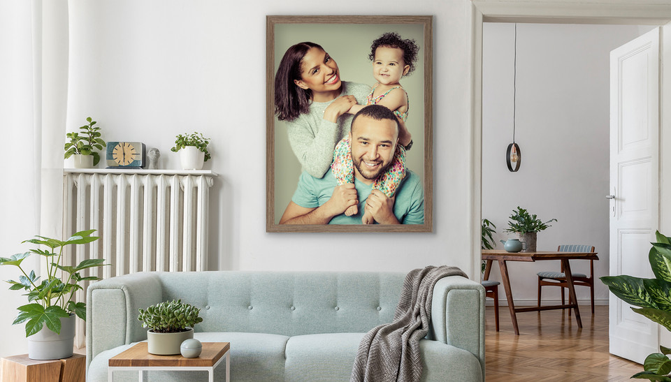 Beautiful Family Portrait framed on a wall