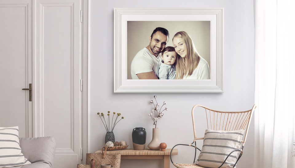 Family Portrait on display in classy frame