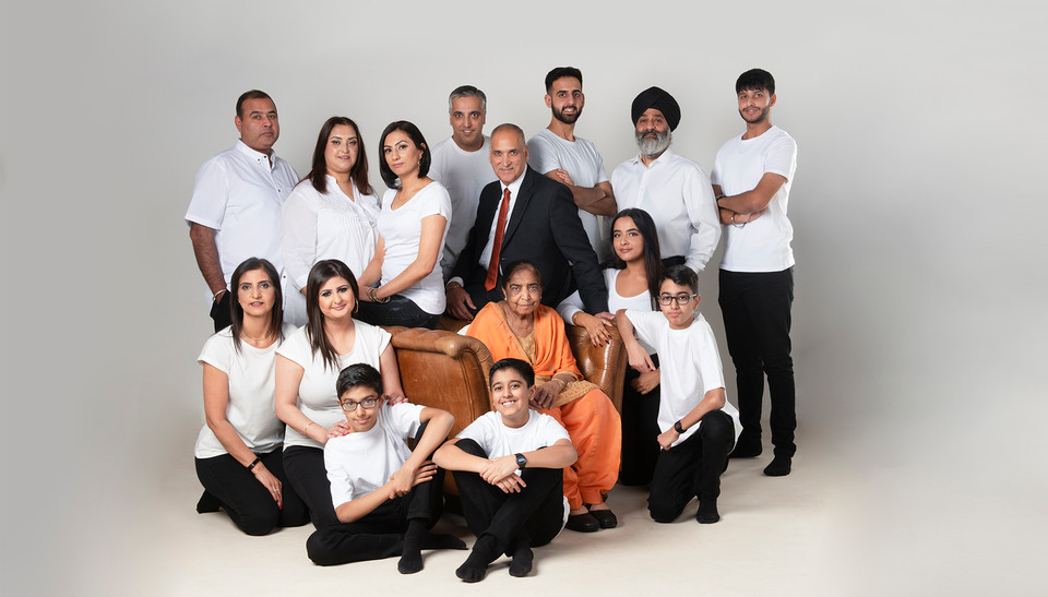 Large generation family photograph. Shot in Studio by Emotion Studios of Wolverhampton