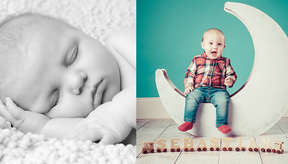 Collage of pictures. The left image shows a baby sleeping in black and white. The picture on the right shows a toddler sitting on a moon prop against a green background. Both images are by Emotion Studios.