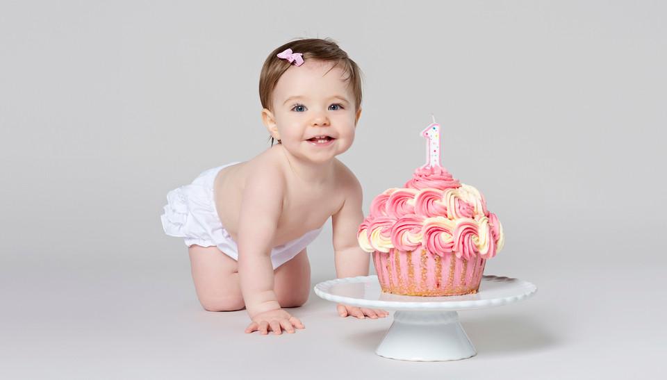 Happy 1st birthday cake smash image by Emotion Studios