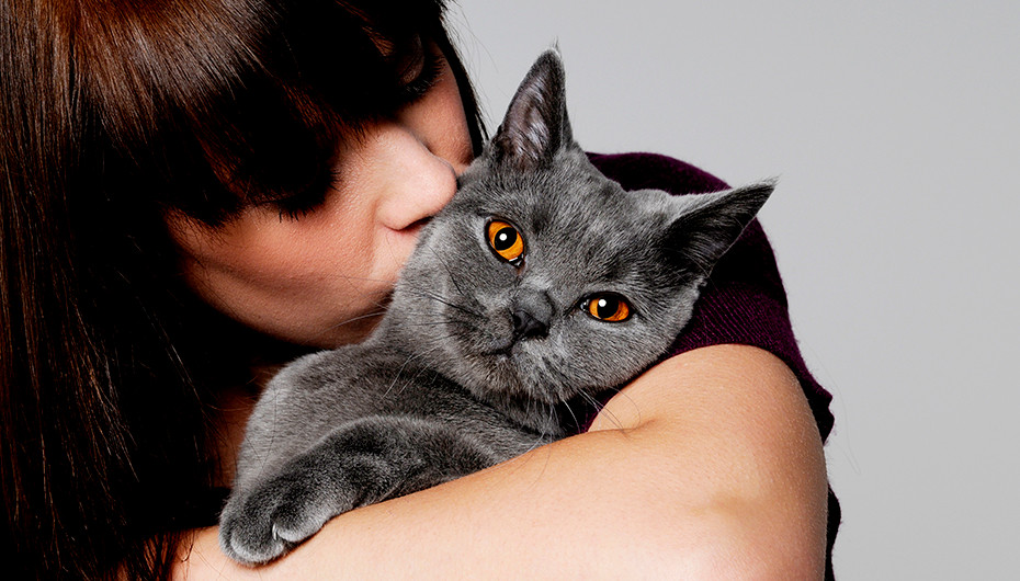 Image of an owner and their cat taken in studio by Emotion Studios.