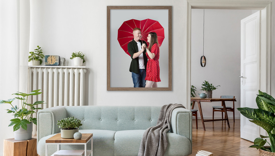 Love heart umbrella, couple  in love, couples room set, Frame of couple. Studio photograph by Emotion Studios. Shropshire