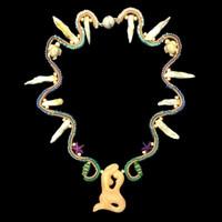 "Handmade, one-of-a-kind beaded mermaid ""Undersea"" Necklace, XS"