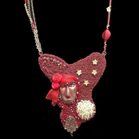 """Red Medium"" Necklace; one-of-a-kind, original design, hand-beaded necklace in artist's private collection"