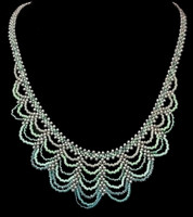 Hand beaded blue ombre ocean waves necklace