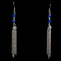 Handmade blue bead and chain earrings
