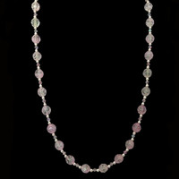 Handmade jewellery pink crystal and bead necklace