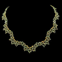 Handmade jewellery dark bronze crystal scalloped necklace