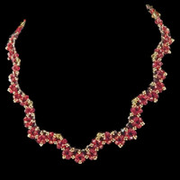 Handmade jewellery red and dark purple crystal scalloped necklace with gold seed beads