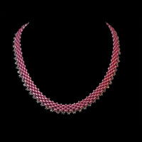 Handmade jewellery pink crystals and beads necklace