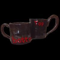 "Handmade kinky clay set ""Top"" and ""bottom"" mugs"