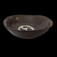 Handmade kinky white Triskelion clay bowl