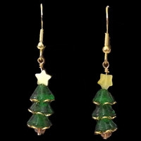 Handmade Swarovski Crystal Christmas Tree Earrings with Yellow Star