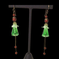 Handmade Swarovski crystal and pearl dangling Holiday earrings