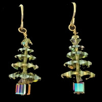 Handmade Swarovski Crystal Tree Earrings, Peridot