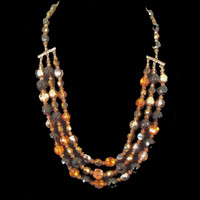 Hand strung triple strand necklace with vintage Czech beads and Swarovski crystals