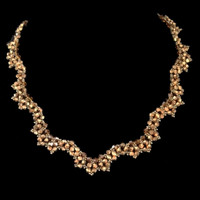 Scalloped gold crystal bridal necklace.