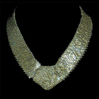 Handmade bridal necklace in soft gold shimmer with Swarovski crystals.
