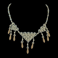 Swarovski pearl, beads, and daggers white and gold bridal necklace