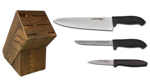 Dexter Russell Cutlery SofGrip Starter Knife Block Set - Black Handles VB4041