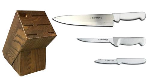Dexter Russell Cutlery Basics Starter Knife Block Set - White VB4043