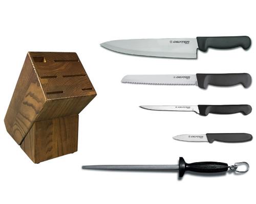 Dexter Russell Cutlery Basics Essential Knife Block Set - Black VB4052