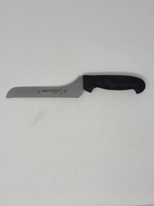 """Dexter Russell SG163-7SCB SofGrip 7"""" Offset Scalloped Utility Slicer"""