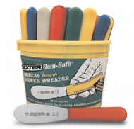 "Dexter Russell Sani-Safe 3 1/2"" Bucket of 48 Colored Handle Spreaders 18513 S173-48B"