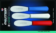 "Dexter Russell Sani-Safe 3 1/2"" 3-Pack Scalloped Spreaders Red, White, Blue 18343 S173SC-3RWC"