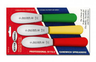 """Dexter Russell Sani-Safe 3 1/2"""" 3-Pack Scalloped Spreaders Red, Yellow, Green 18543 S173SC-3RYG"""