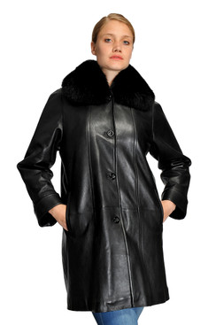 Mason & Cooper | Lara Lamb/Fox Collar Swing Coat