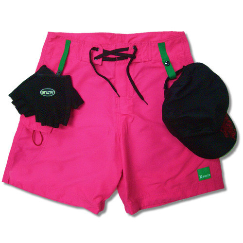 Quick dry microfibre padded paddling shorts - hot pink