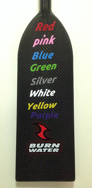 Custom name decals for your dragon boat paddle - 9 awesome decal colours to choose from: red, blue, pink, white, silver, lime green, yellow orange and purple.