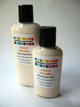 Sweet Cheeks Organic Hand and Body Lotion SAMPLE SIZE - Apricot, Vanilla, Amber, Freesia... Original Formula