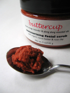 Buttercup Moisturizing Facial Scrub - Blood Orange, Lavender and Ylang Ylang Essential Oils, Organic Cocoa Butter, Rose Clay...