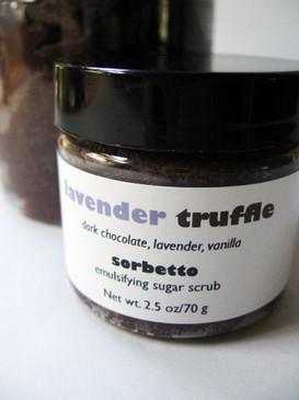 Lavender Truffle Sorbetto Emulsifying Sugar Scrub SAMPLE SIZE - Dutch-Process Cocoa, Lavender, Vanilla