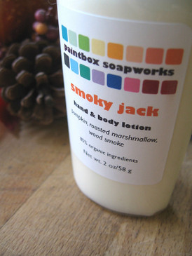 Smoky Jack SAMPLE SIZE Organic Hand and Body Lotion - Pumpkin, Roasted Marshmallow, Wood Smoke... Weenie Limited Edition