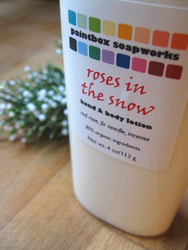 Roses in the Snow Organic Hand and Body Lotion - Red Rose, Fir Needle, Incense... Yuletide Limited Edition