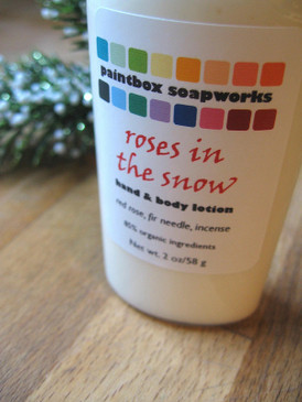 Roses in the Snow SAMPLE SIZE Organic Hand and Body Lotion - Red Rose, Fir Needle, Incense... Yuletide Limited Edition