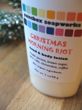 Christmas Morning Riot Organic Hand and Body Lotion SAMPLE SIZE - Maple Nuts, Brown Sugar, Clementines, Coffee... Yuletide Limited Edition