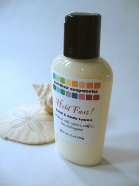 Hold Fast! SAMPLE SIZE Organic Hand and Body Lotion - Coconut Milk, Spices, Coffee, Tea, Mahogany... Summer Limited Edition