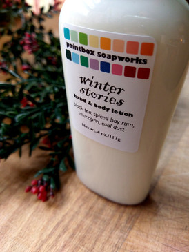 Winter Stories Organic Hand and Body Lotion - Tea, Bay Rum, Marzipan, Coal Dust... Yuletide Limited Edition